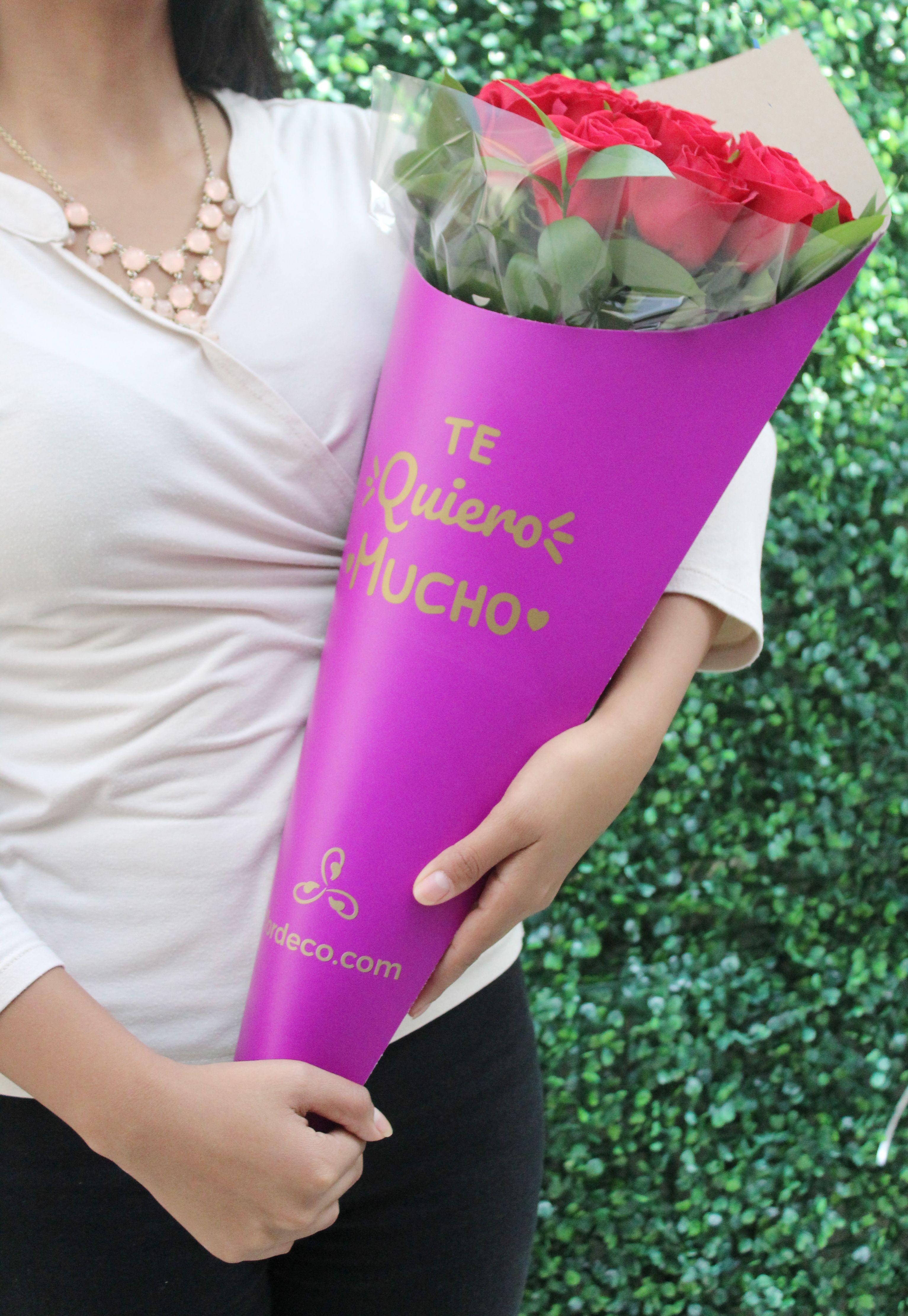 Bouquet De 24 Rosas Rojas Con Frase Bouquet En Cono Exclusivo De Flordeco Con 24 Rosas Rojas Y Rusc Bouquet De Rosas Rojas Arreglos De Rosas Arreglos De Flores