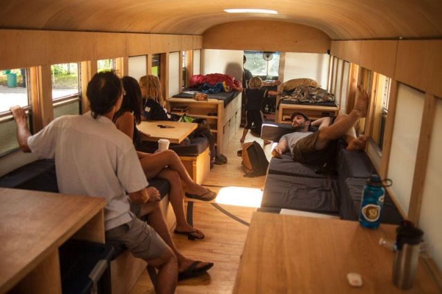 School bus converted into small home by architecture student refurbished ideas