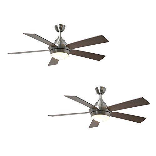 Set Of 2 Harbor Breeze Platinum Portes 52 In Brushed Nickel Downrod Mount Ceiling Fan With Light Kit And Remote Ceiling Fan Fan Light Ceiling Fan With Light