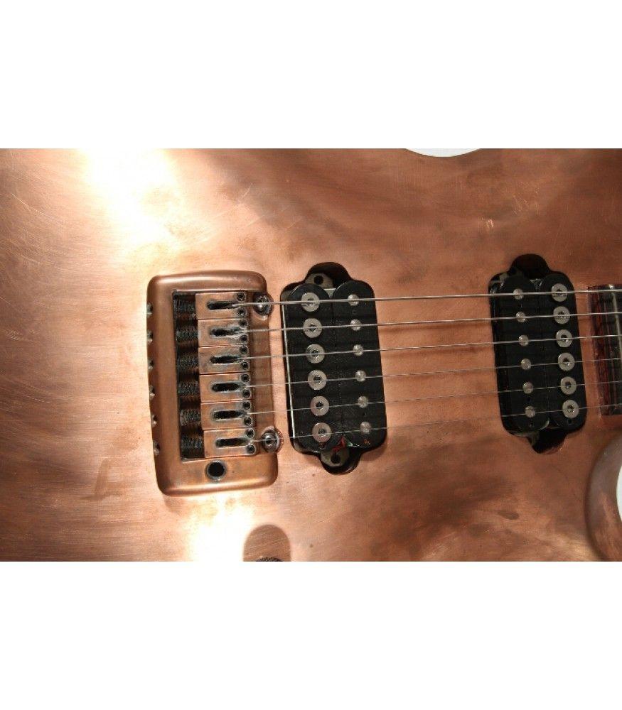 Crimson Guitars Custom Copper Top Guitar - hand beaten copper top, custom pickups, mahogany neck and one piece padouk body