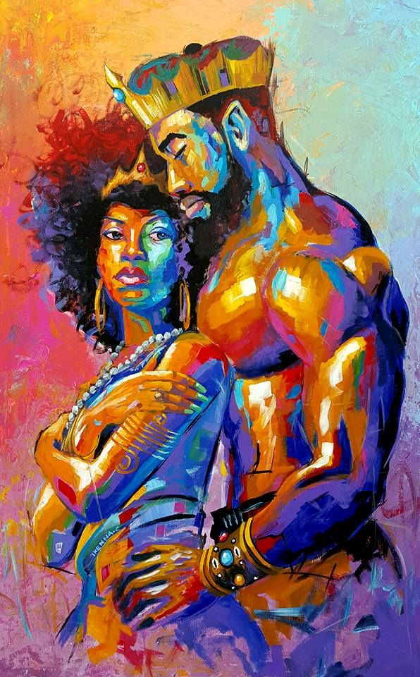 Title A King For A Queen Size 30x48 Inches Medium Acrylic On Canvas Unframed Prints Are Also Available An Black Artwork Black Art Pictures Black Love Art