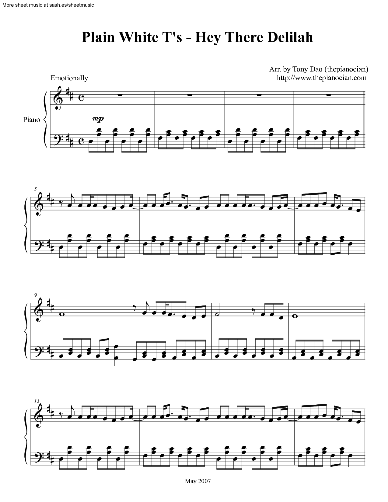 Plain White Ts Hey There Delilah Sheet Music Music Pinterest