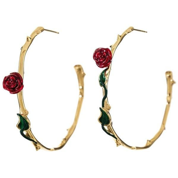 Alison Lou Red Rose Gold Hoop Earrings 4585 RON liked on