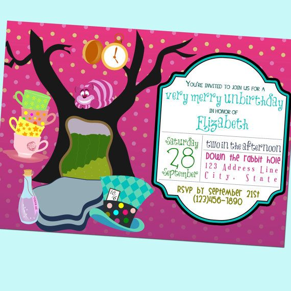 Items Similar To Very Merry Unbirthday Party Alice In Wonderland Invite Printable 5x7 O Disney Theme Party Mad Hatter Tea Party Alice In Wonderland Party