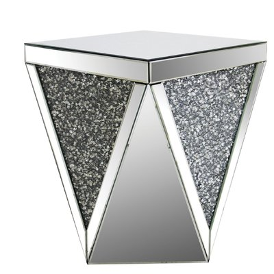 House Of Hampton Andres Square Mirrored Top End Table Glass Top