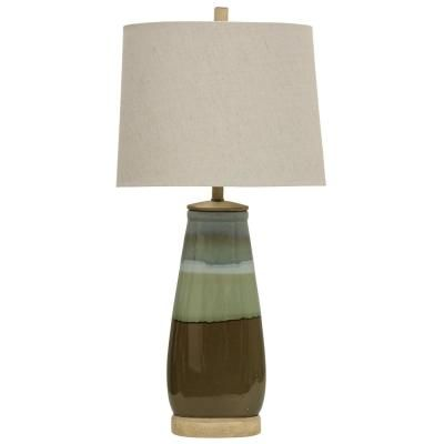 Stylecraft 34 In Millville Table Lamp With White Hardback Fabric Shade L314096ds The Home Depot In 2021 Table Lamp Lamp Blue Table Lamp
