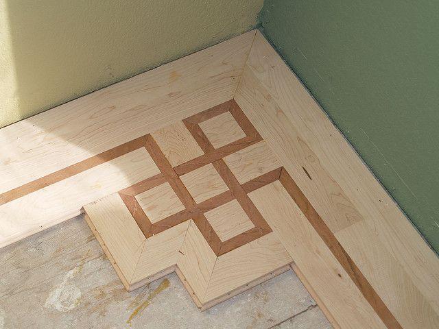 Maple Hardwood Floor With Custom Inlay Cherry Feature Strip By Thibodeau Floors Via Flickr Wood Floor Design Inlay Flooring Entryway Flooring