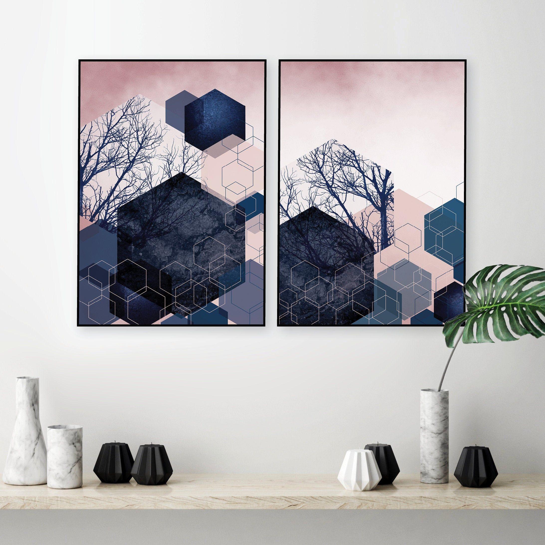 Set of 21 Blush pink navy geometric abstract printable art   Etsy ...