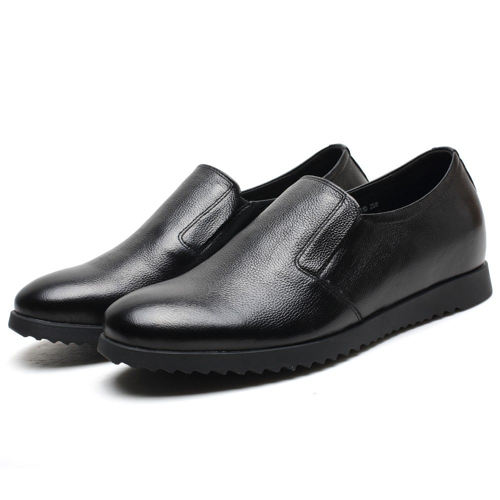Shoes Mens Shoes Casual Leather Loafers height Increase Shoes Formal Business Work (Color : Black Size : 42)