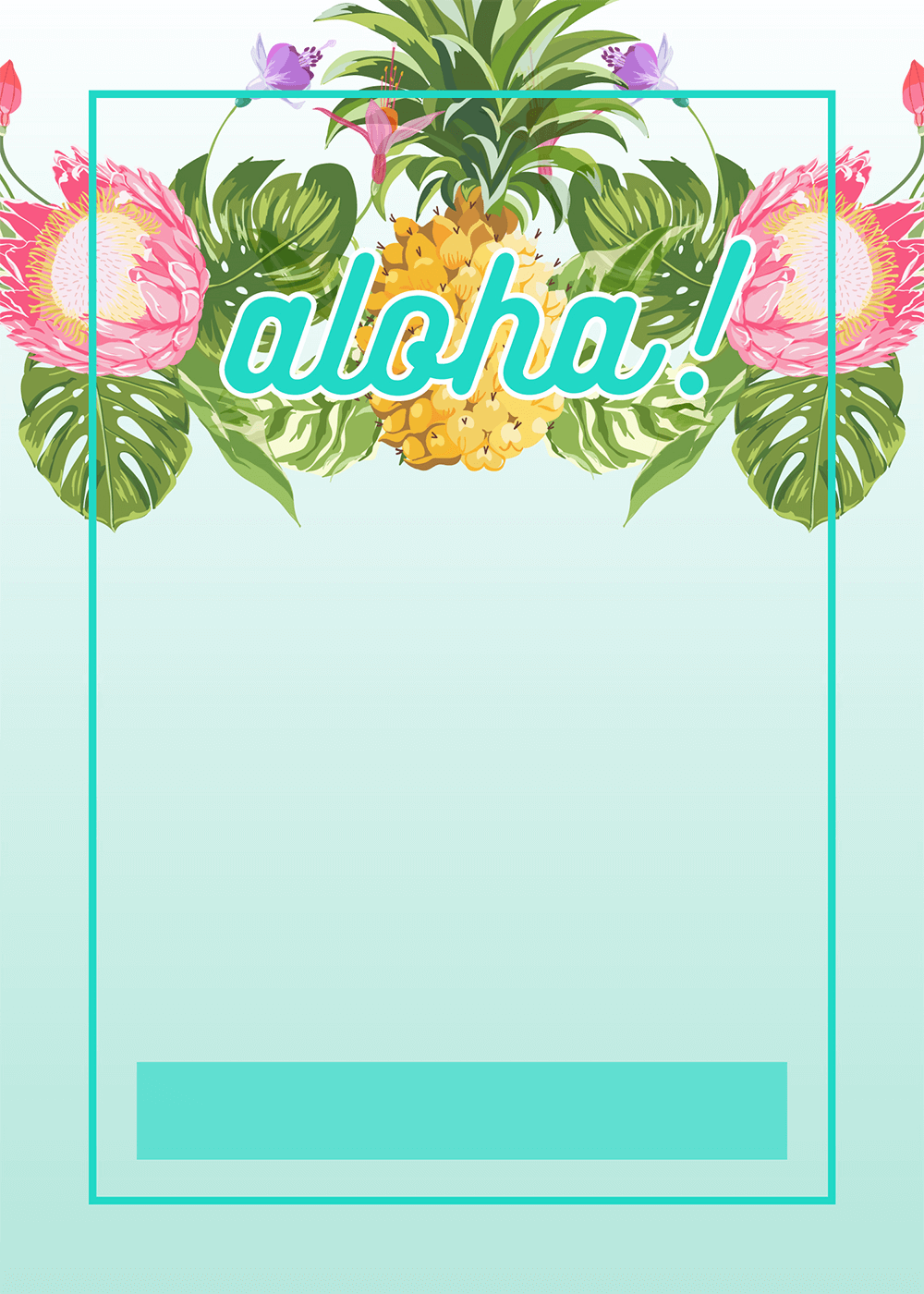 Pineapple Luau Perimeter   Free Printable Birthday Invitation Template |  Greetings Island  Birthday Invitation Template Printable