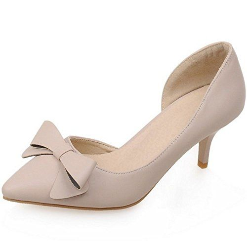 TAOFFEN Womens Middle Heel Pointed Toe Bowtie Stiletto Sandals 7 BM US Nude *** To view further for this item, visit the image link.(This is an Amazon affiliate link and I receive a commission for the sales)