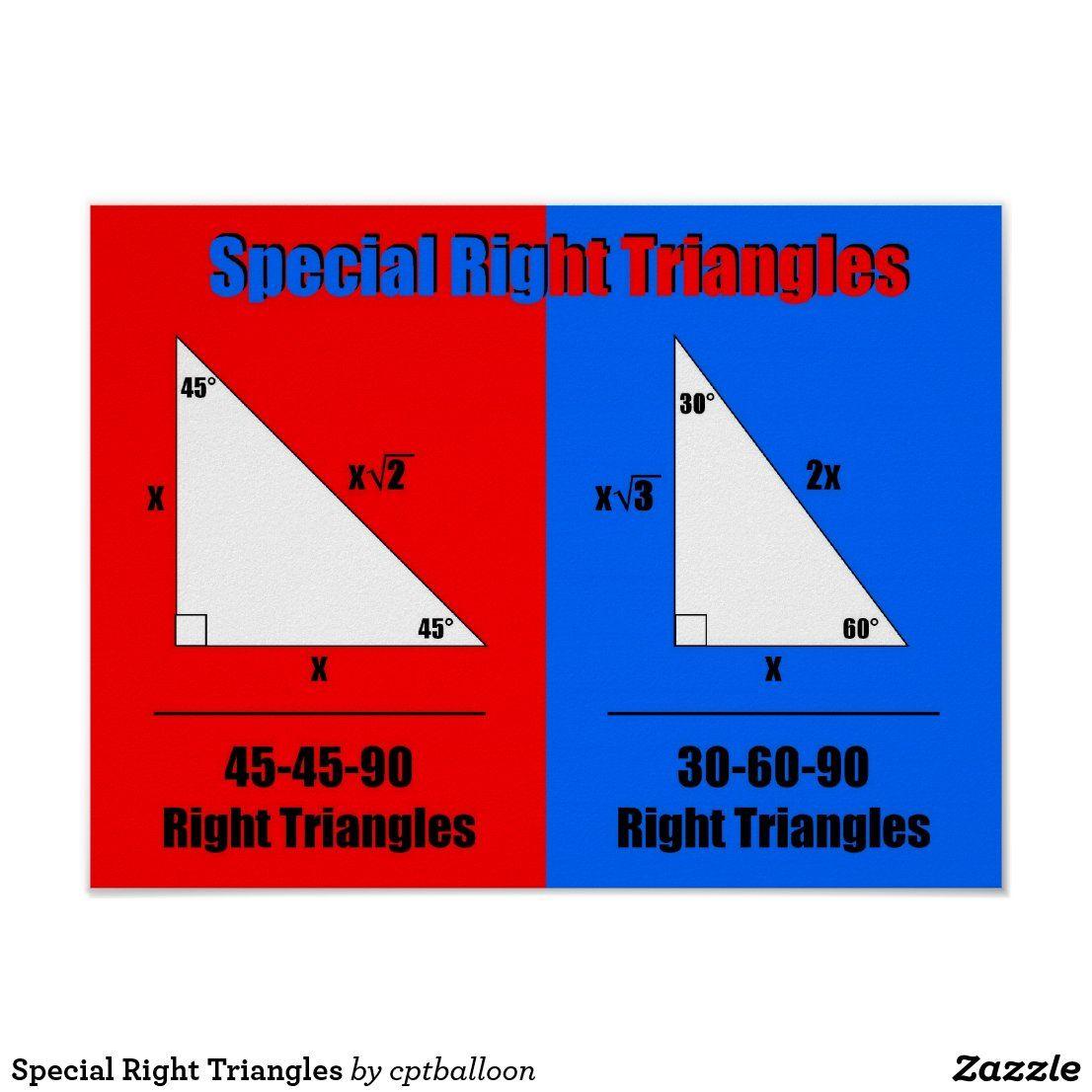 Special Right Triangles Poster Zazzle Com In 2021 Special Right Triangle Math Poster Right Triangle [ 1106 x 1106 Pixel ]