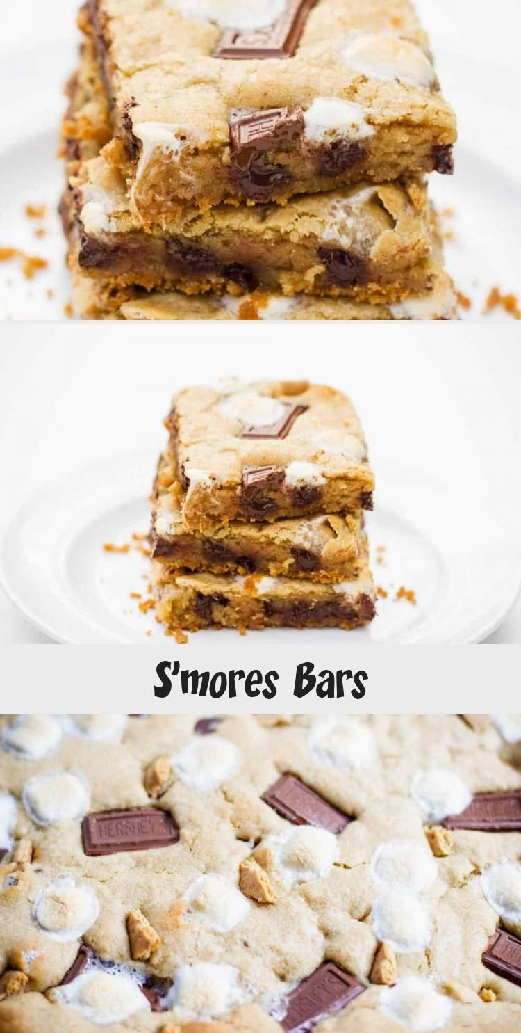Gooey s'mores bars filled with a graham cracker crust and loaded with chocolate chips, marshmallo