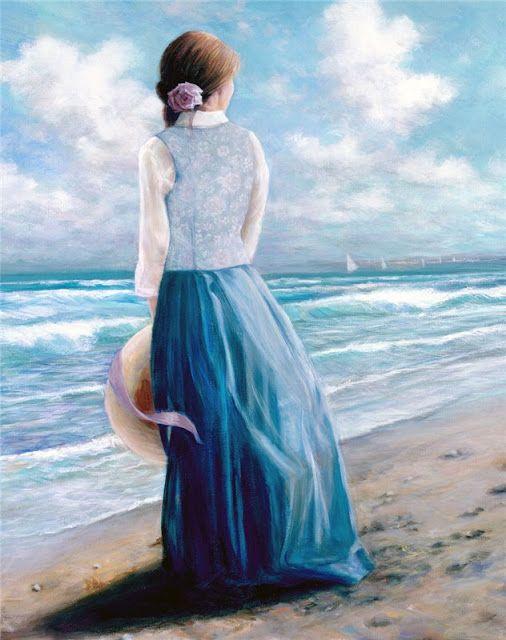 Princesa Nadie Mirando Al Mar Mujer Pintura Ilustración De Otoño Obras De Arte Pinturas