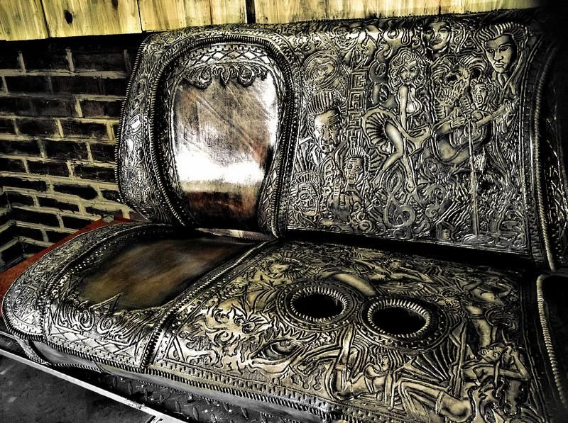 Hand Tooled Leather Custom Seat For A Show Truck Original