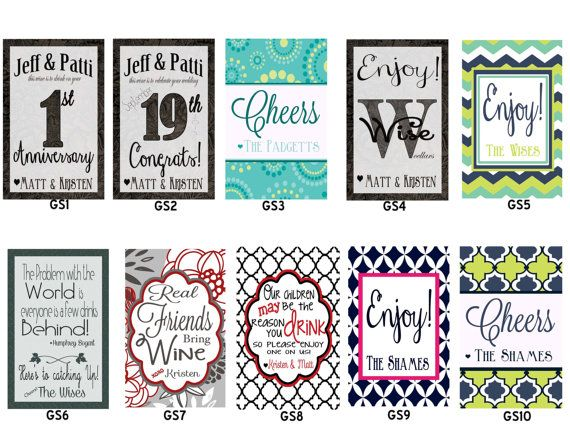 Set of 8 personalized custom sticker wine tags many styles to choose from or well create one for you quick turnaround