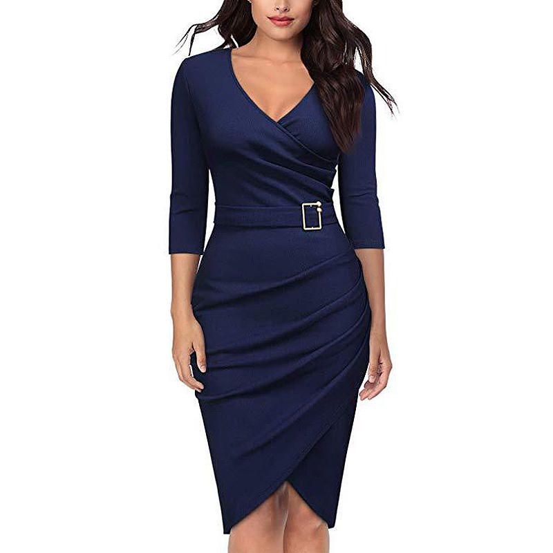 a87f5e94bae7 VERYVOGA Solid 3/4 Sleeves Bodycon Asymmetrical Casual/Elegant ...
