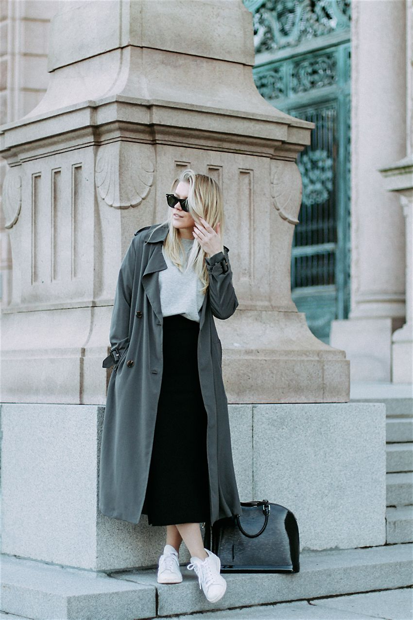 Khaki duster coat, black midi skirt & grey tee