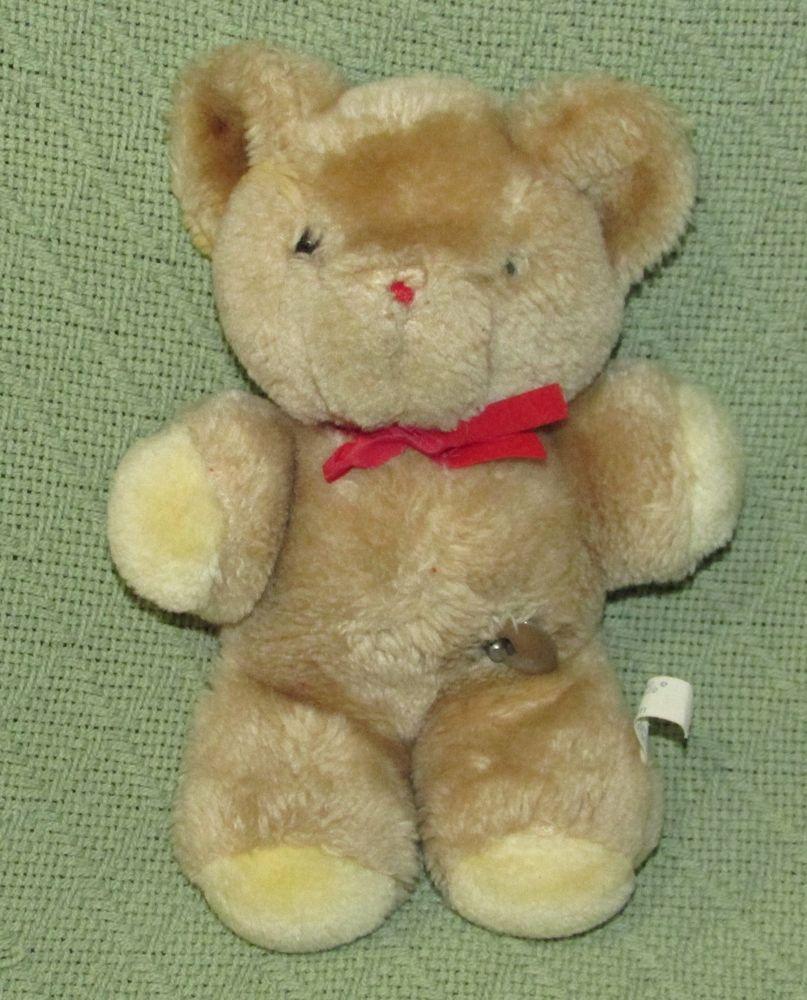 9bceb79e929 EDEN Vintage MUSICAL TEDDY BEAR Red Ribbon WORKS Tan 8