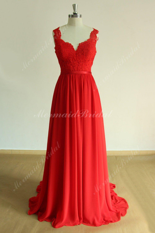 Open Back Red Flowy A Line Chiffon Lace Wedding Dress Prom Dress