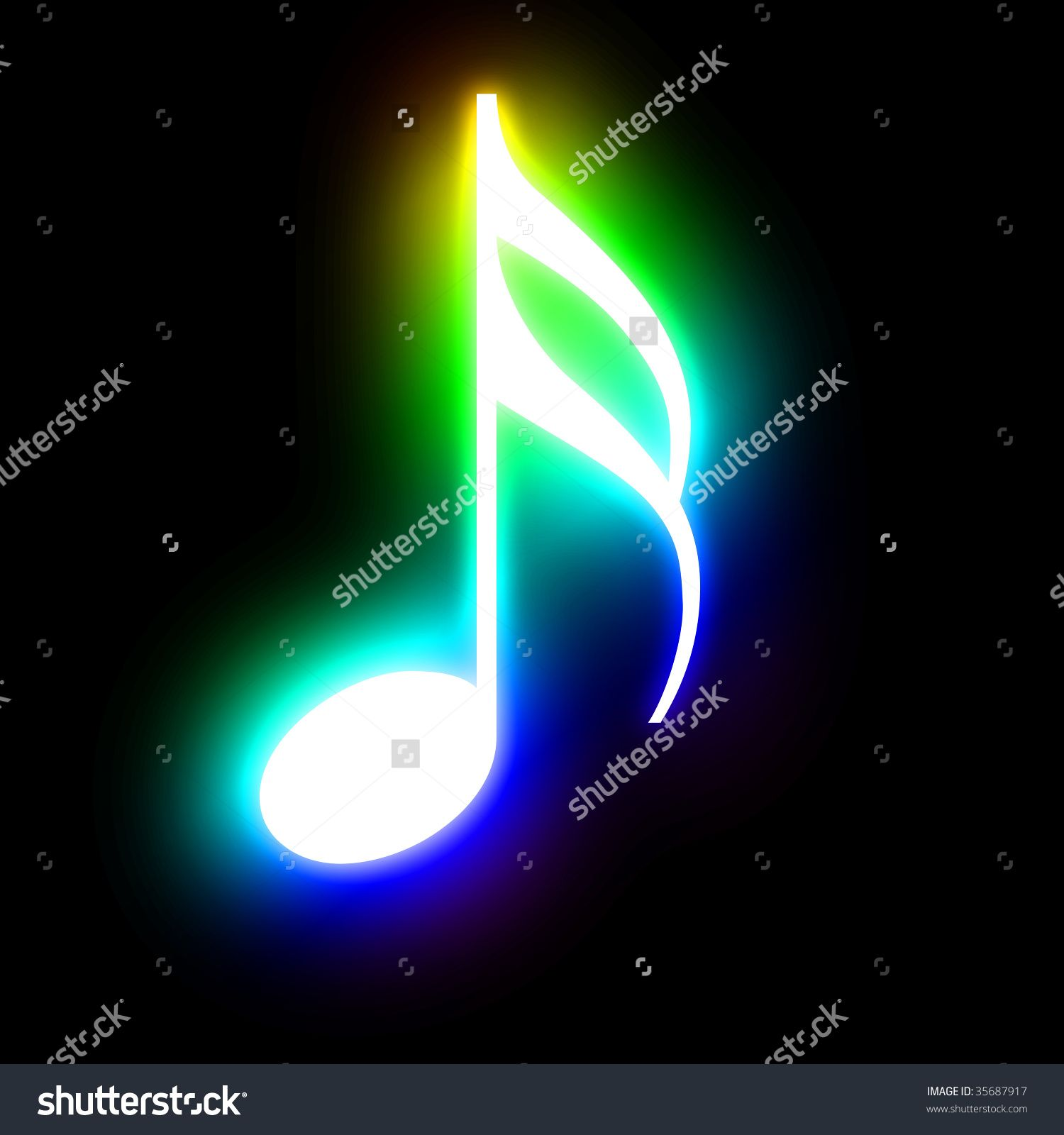 rainbow music note on a dark background stock photo