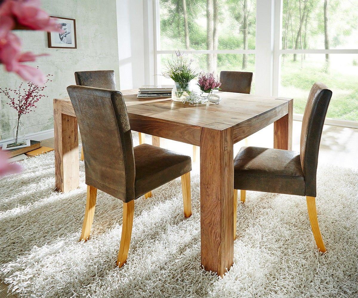 Esstisch 140x100 Sheesham Natur Beine 11 cm Massivholz | Deluxe ...