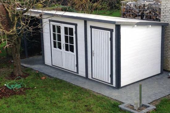 Pultdach Gartenhaus Maria (ISO) mit Anbau & Schleppdach