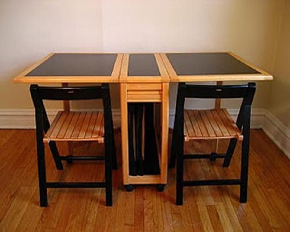 folding kitchen table with chair storage wooden folding table and chair set home kitchen 8263