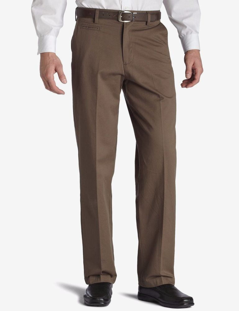 f6bc7a459 Dockers D4 Mens Pants True Chino Relaxed Fit Flat Front Brown size 32x30  NEW 19.99 http