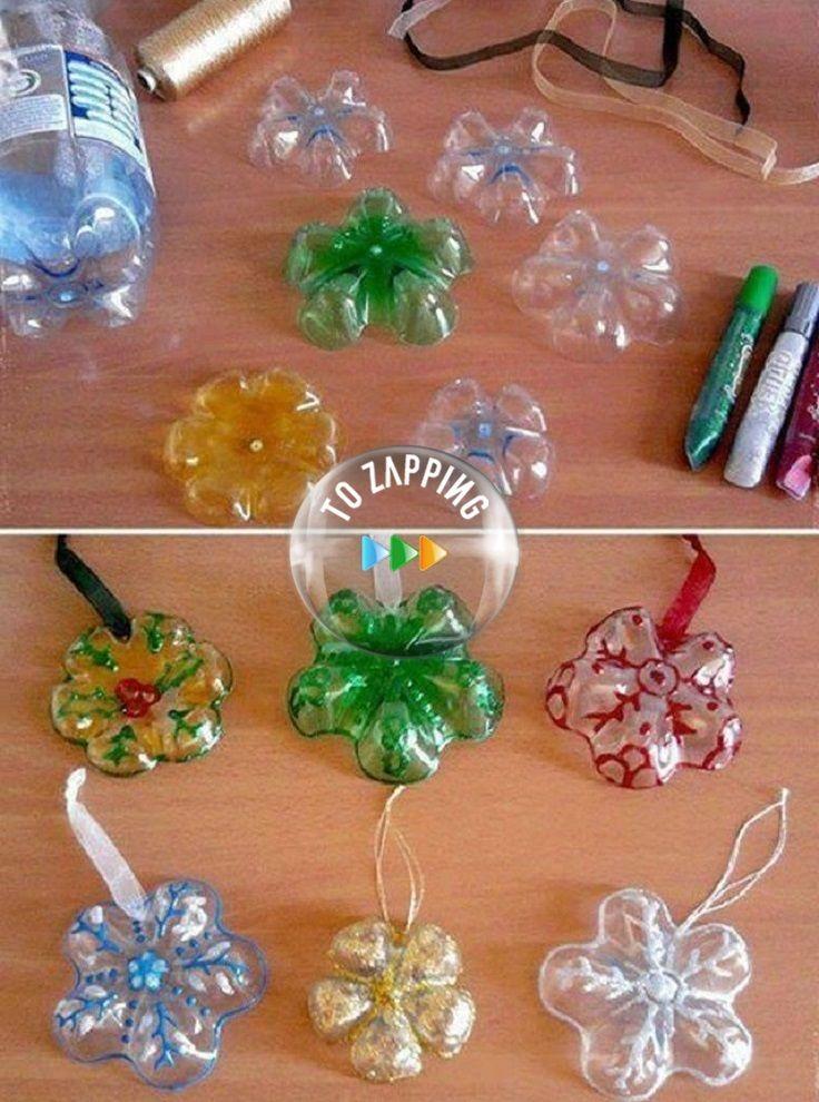 Adornos para el rbol navide o con botellas de pl stico for Adornos navidenos reciclados botellas