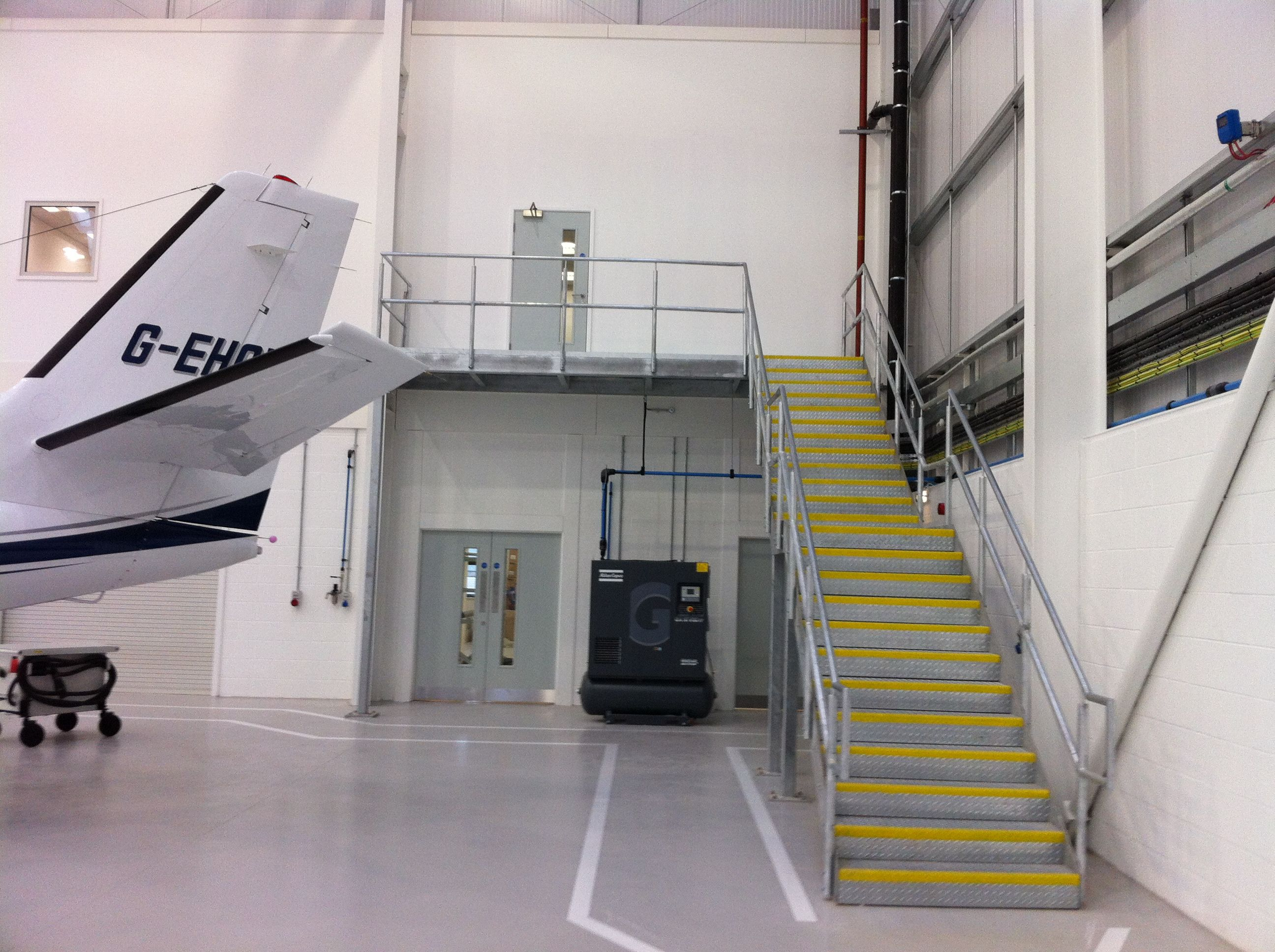 Best Galvanised Steel Staircase And Landing At A Hangar In 640 x 480