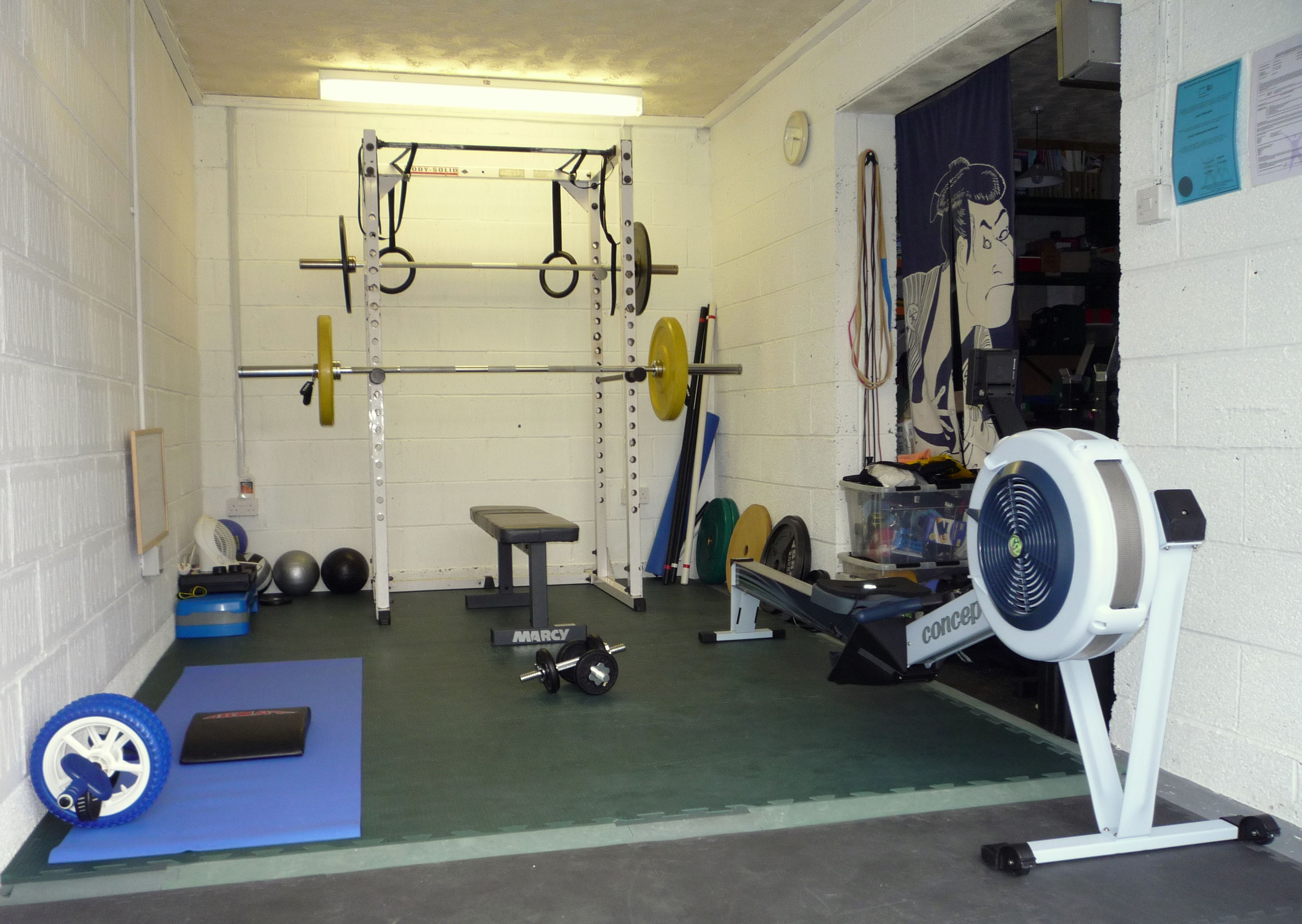 Garage gym with olympic weights and c rower