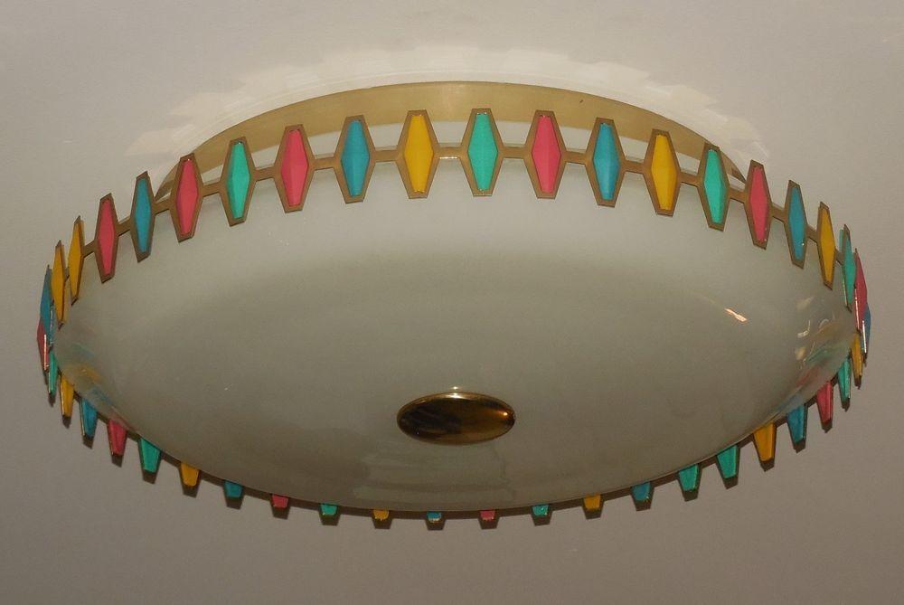 Vintage Retro SPACE AGE Saucer UFO Mid Century Ceiling Light Fixture Multi Color