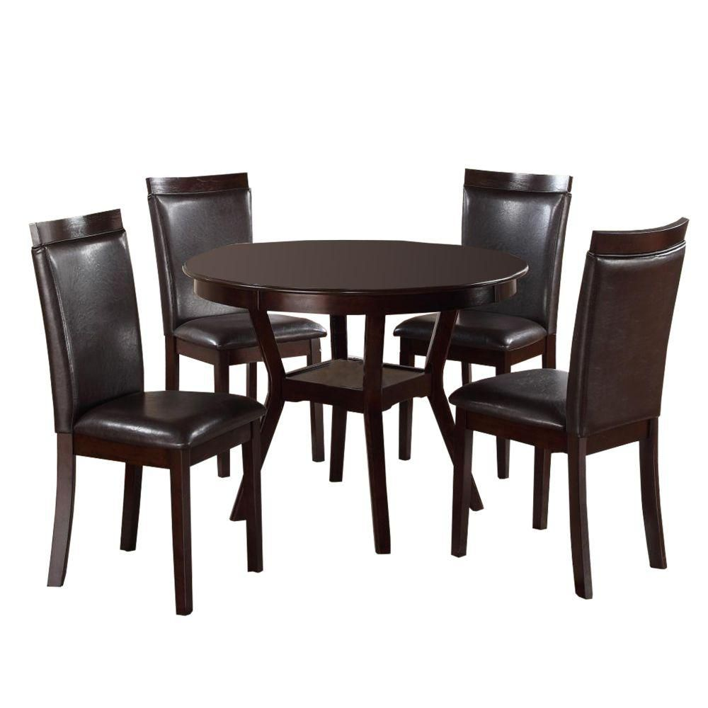Benjara Brown Transitional Wood And Bi Cast Vinyl Upholstered Dinette Pack With Four Chairs Pack Of 5 Bm190145 The Home Depot In 2021 5 Piece Dining Set Dinning Room Furniture Dining Set [ 1000 x 1000 Pixel ]
