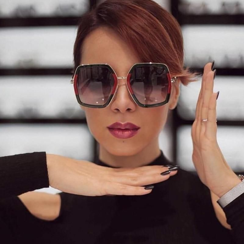 321c12cf0b3c Square Luxury Sun Glasses Brand Designer Ladies Oversized Crystal Sunglasses  Women Big Frame UV400