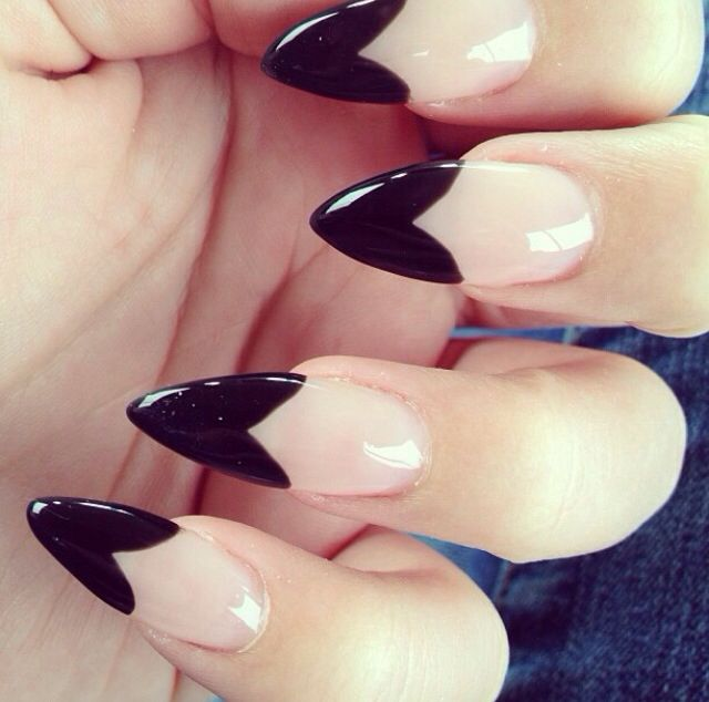 Stiletto Nails Heart Tips With Images Pointy Nails