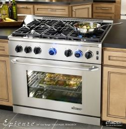 Dacor Renaissance Freestanding Range With Liquid Propane High Alude Cu Manual Clean Convection Oven Stainless Steel Chrome Trim Backguard And
