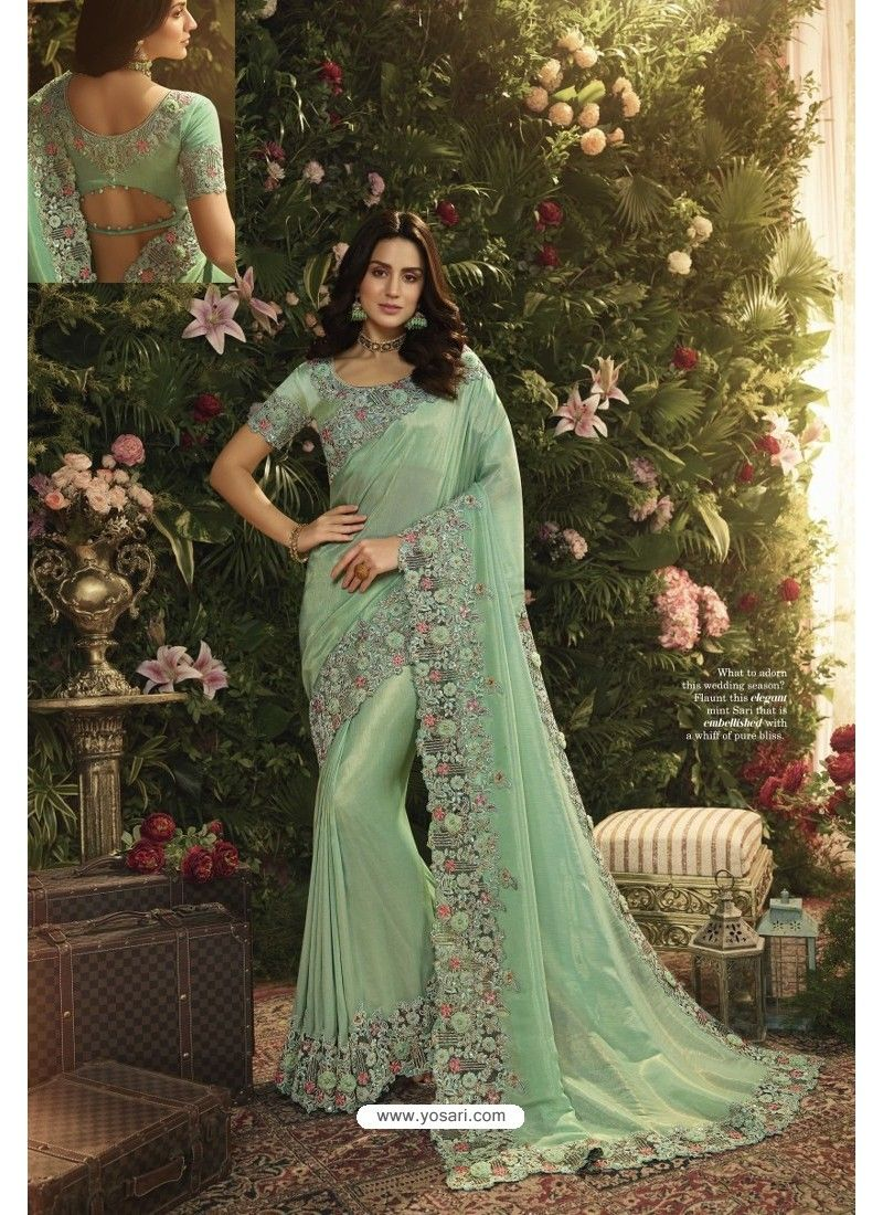 Indian SeaGreen Embroidery Border Bollywood Sari Silk Georgette Party Wear Saree