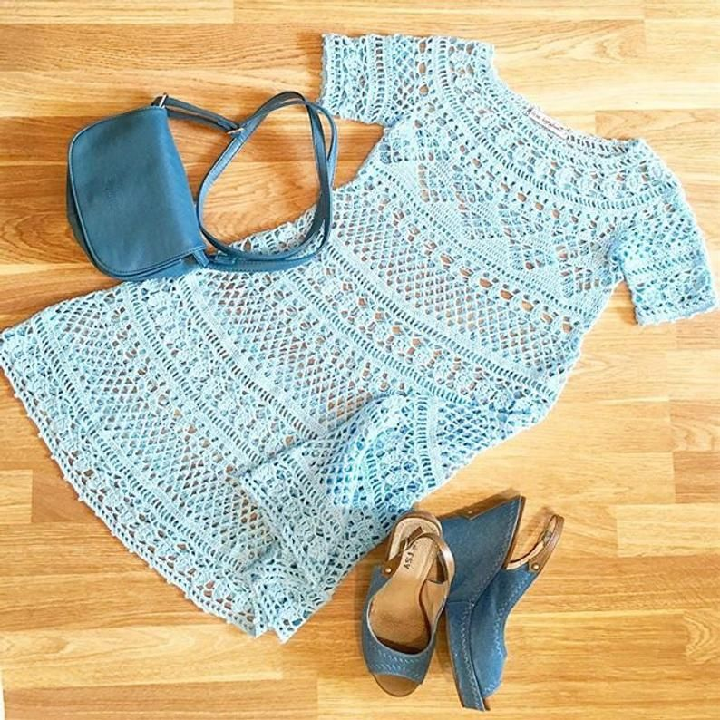 """Crochet lace summer Woman Dress """"Baby Doll"""" Instant download PDF pattern Detailed Tutorial"""
