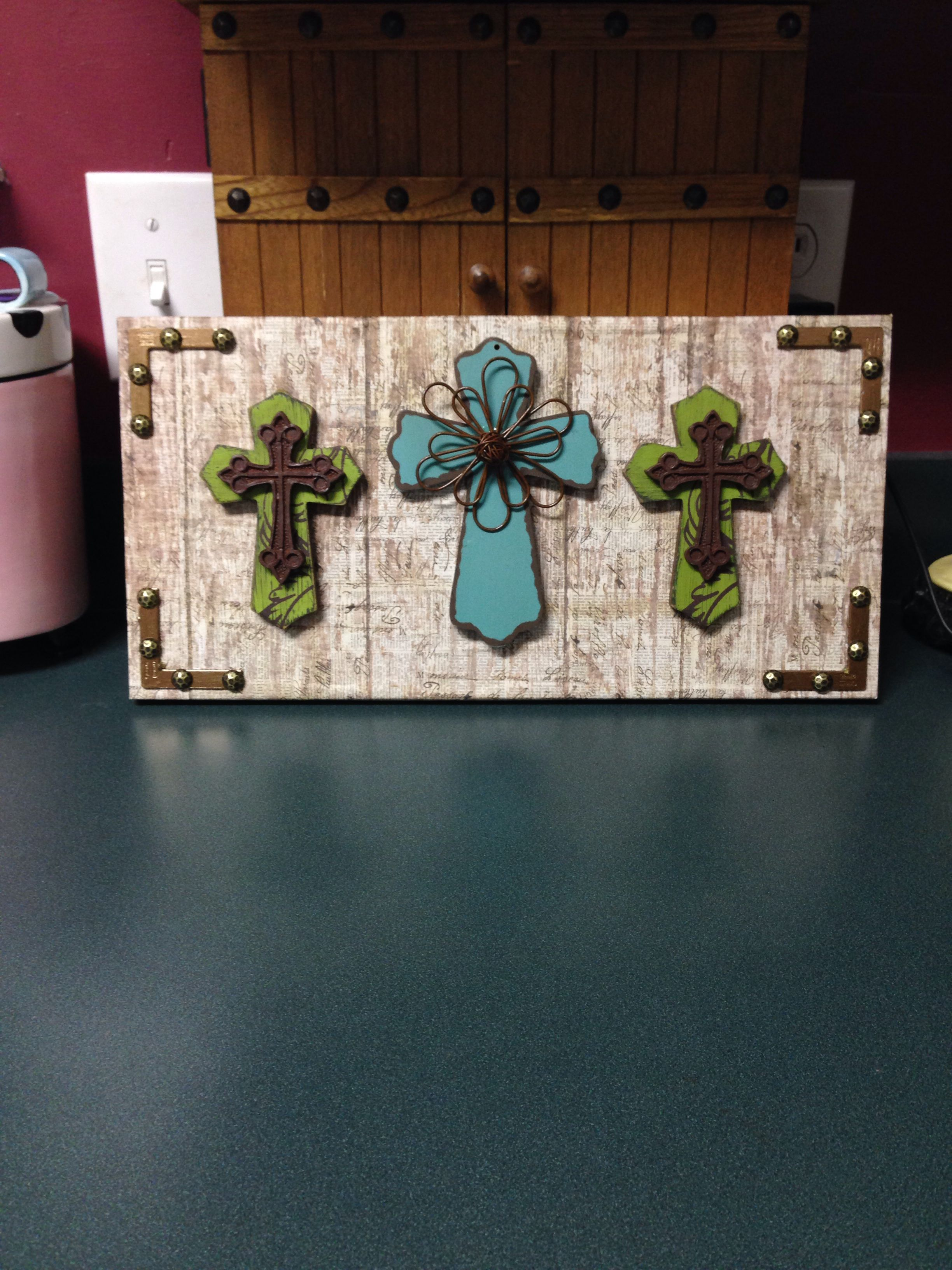 Scrapbook paper display - My Display Of Three Decorative Crosses On A Board Covered With Scrapbook Paper