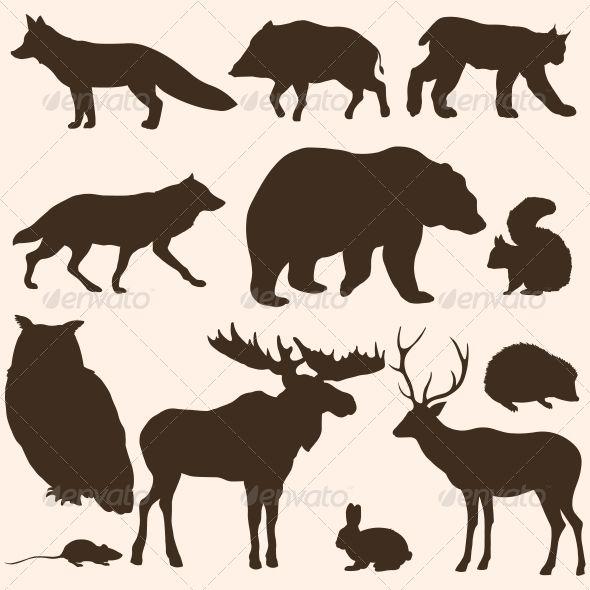 Vector Set of Forest Animals Silhouettes | Chevy, Set of and Moose