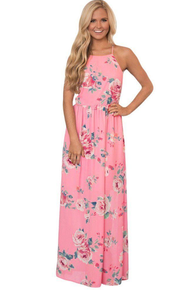 0053773cc7742 Pink Floral Bohemian Holiday Maxi Dress | My Spring & Summer Style ...