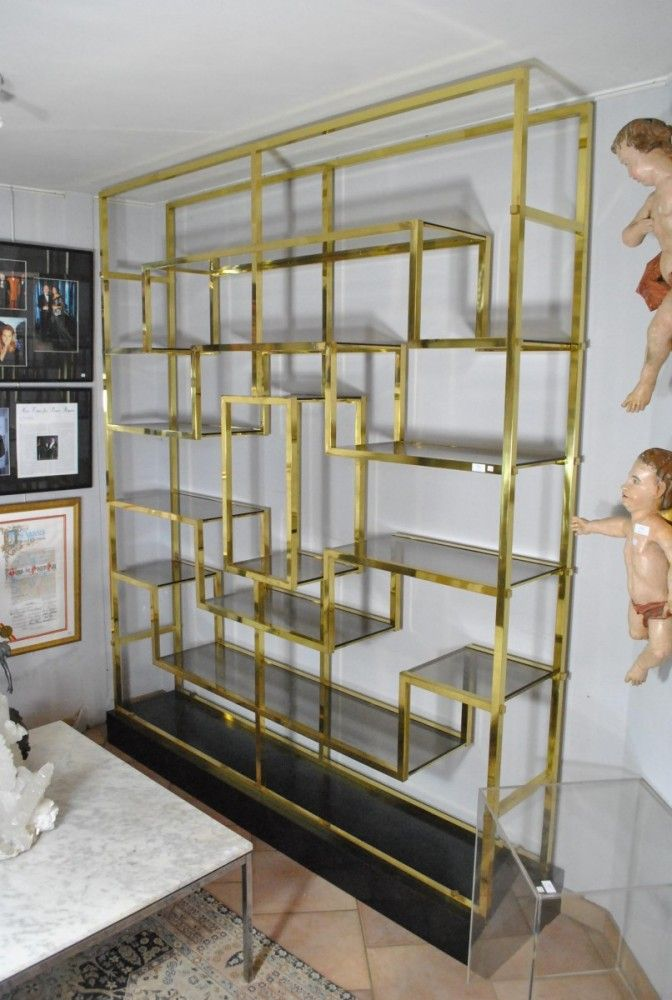 Willy rizzo brass etagere shelving unit for Dining room etagere