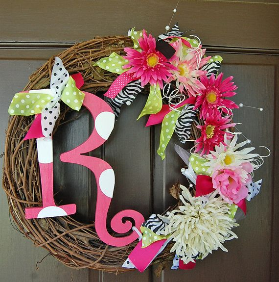 Initial Wreath with flowers
