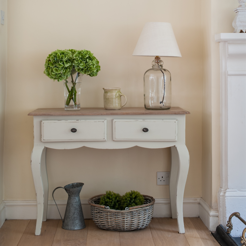 Stratton console table new county collection furniture a simple and elegant console table there are two short drawers each with a rustic pewter knob handle over curved french style legs geotapseo Gallery