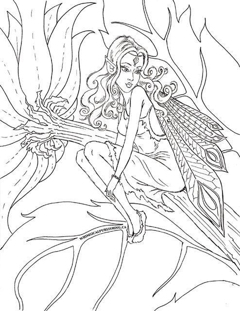 Fairy Fae Fantasy Myth Mythical Mystical Legend Elf Wings Elves Faries Coloring Pages Colouring Adult