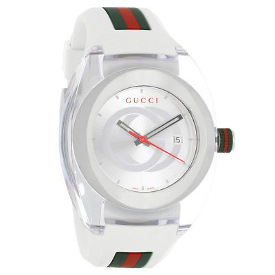 dd71ef76b70 Gucci 137 Sync XXL Mens White Green Red Strap Swiss Quartz Watch YA137102