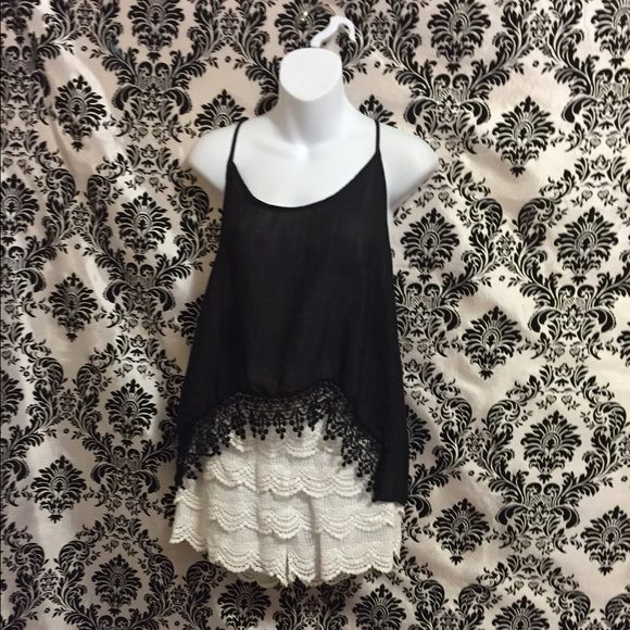 Black tank top Black tank top Loose fitting Light weight  Lace detail Tops Tank Tops