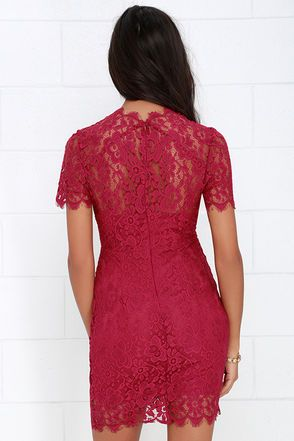 What in Carnation Berry Red Lace Dress at Lulus.com!