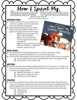 How I Spent My Summer Vacation Activity W Lesson Plan FREE